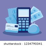 dataphone with set icons...   Shutterstock .eps vector #1234790341