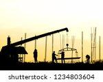 construction site silhouette... | Shutterstock . vector #1234803604
