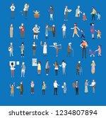 crowd of tiny people walking...   Shutterstock .eps vector #1234807894