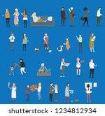 crowd of tiny people walking...   Shutterstock .eps vector #1234812934