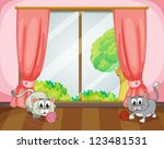 Stock vector illustration of cats playing with wool in a room 123481531