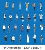 crowd of tiny people walking...   Shutterstock .eps vector #1234815874