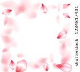 pink peach flower flying petals ... | Shutterstock .eps vector #1234817431