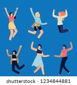 group of young joyful laughing...   Shutterstock .eps vector #1234844881