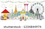 thai temple  thai temple fair ... | Shutterstock .eps vector #1234844974