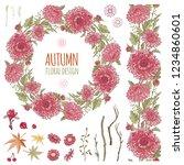 red chrysanthemums set. flowers ... | Shutterstock .eps vector #1234860601