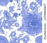 blue and white flowers seamless ... | Shutterstock .eps vector #1234860607