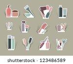 hairdresser's accessories on... | Shutterstock .eps vector #123486589