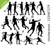 Men Silhouettes Play Badminton...