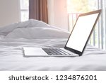 laptop with blank screen on... | Shutterstock . vector #1234876201