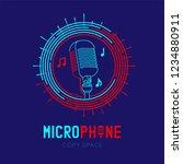 retro microphone logo icon... | Shutterstock .eps vector #1234880911