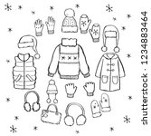hand drawn set of winter... | Shutterstock .eps vector #1234883464