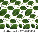 bay leaf vector seamless texture | Shutterstock .eps vector #1234908034