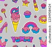 seamless pattern of crown ... | Shutterstock .eps vector #1234908424