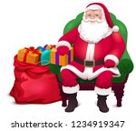 santa claus sit in chair and... | Shutterstock .eps vector #1234919347