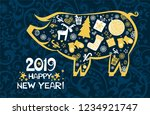 happy chinese new year 2019... | Shutterstock .eps vector #1234921747