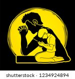 prayer  christian praying ... | Shutterstock .eps vector #1234924894