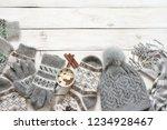 warm grey woolen knitwear ... | Shutterstock . vector #1234928467