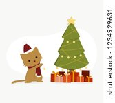 Stock vector ginger cat sitting next to christmas tree kitten playing decoration light x mas tree with 1234929631