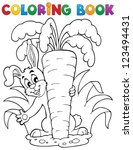 coloring book rabbit theme 1  ... | Shutterstock .eps vector #123494431