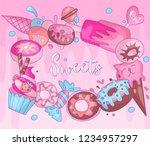 cute funny girl teenager...   Shutterstock .eps vector #1234957297