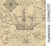 old caravel  vintage sailboat ... | Shutterstock .eps vector #1234962757