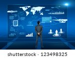 young business man looking on... | Shutterstock . vector #123498325