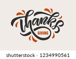 hand drawn thanksgiving... | Shutterstock .eps vector #1234990561