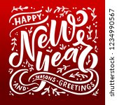 hand sketched happy new year... | Shutterstock .eps vector #1234990567