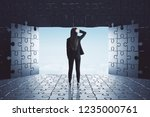back view of young... | Shutterstock . vector #1235000761