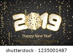 happy new year 2019. numbers 2  ... | Shutterstock .eps vector #1235001487