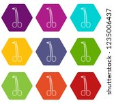 surgical forceps icons 9 set... | Shutterstock .eps vector #1235006437