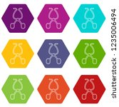 surgical scissors icons 9 set... | Shutterstock .eps vector #1235006494