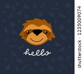 cute card template with vector... | Shutterstock .eps vector #1235009074
