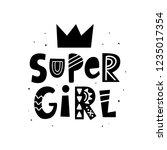 super girl hand lettering... | Shutterstock .eps vector #1235017354
