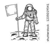 astronaut spaceman on moon... | Shutterstock .eps vector #1235019541