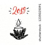 2019 new year greeting card... | Shutterstock .eps vector #1235025091