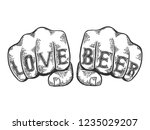 love beer words tattoo on fists ... | Shutterstock . vector #1235029207