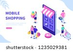 online shopping concept with... | Shutterstock .eps vector #1235029381