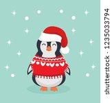 cute christmas penguin in... | Shutterstock .eps vector #1235033794