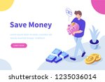 man holding piggy bank with...   Shutterstock .eps vector #1235036014