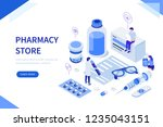 pharmacy store concept with... | Shutterstock .eps vector #1235043151