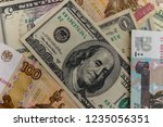background of the us dollars...   Shutterstock . vector #1235056351