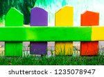 multi colored small fence of... | Shutterstock . vector #1235078947