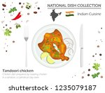 indian cuisine. asian national... | Shutterstock .eps vector #1235079187