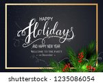 holidays greeting card for... | Shutterstock .eps vector #1235086054