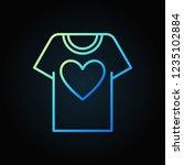 t shirt with heart blue outline ... | Shutterstock .eps vector #1235102884