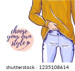 vector fashion illustration... | Shutterstock .eps vector #1235108614