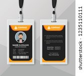 employee id card template with... | Shutterstock .eps vector #1235110111