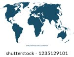 vector world map. isolated on... | Shutterstock .eps vector #1235129101